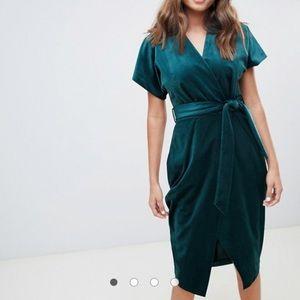 Closet London velvet wrap dress in emerald green
